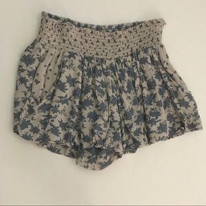 Free People Bubble Shorts boho floral blue floral